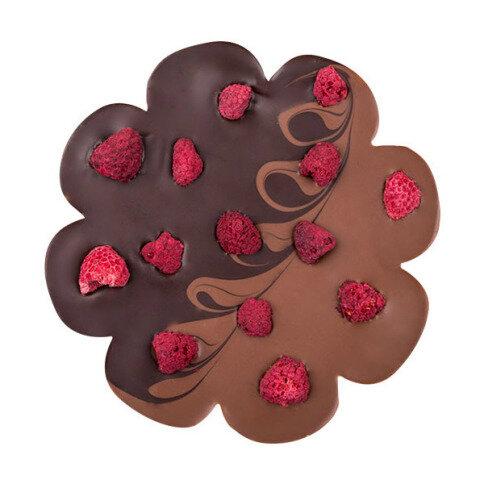 Chocolissimo - Čokoláda mliečno-horká v tvare kvetinky s malinami 100 g