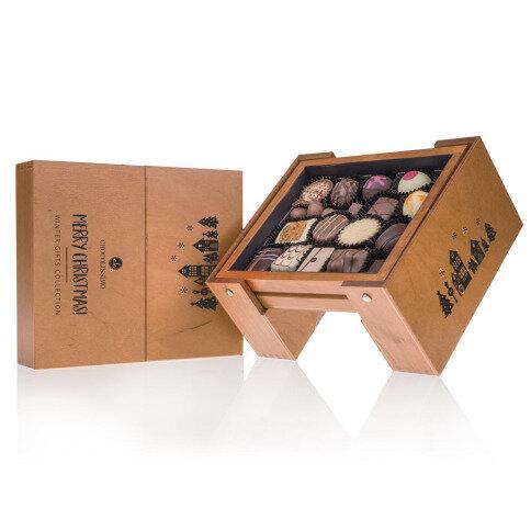 Chocolissimo - Drevený skladací stôl s vianočnemi čokoládkami 185 g