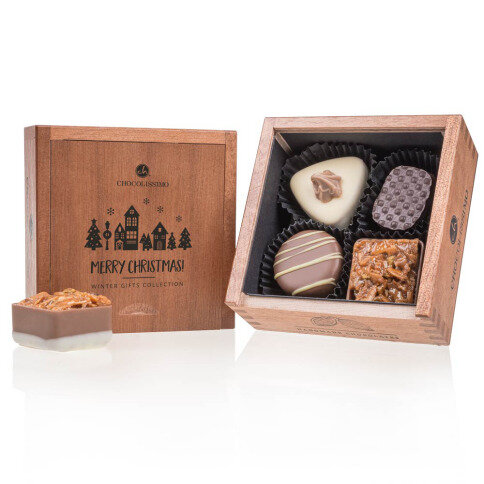 Chocolissimo - Drevená vianočná mini bonboniera 50 g