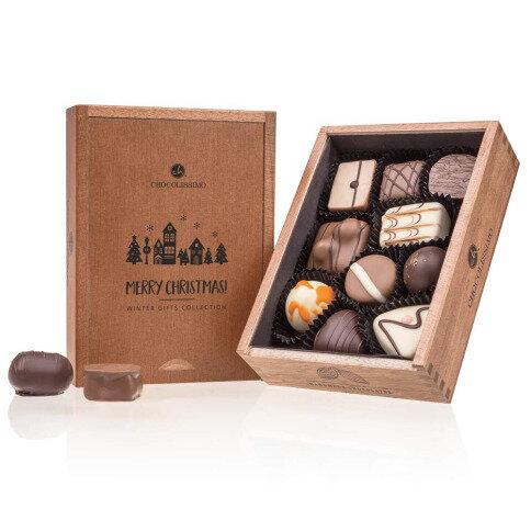 Chocolissimo - Drevená vianočná bonboniéra Elegance 125 g