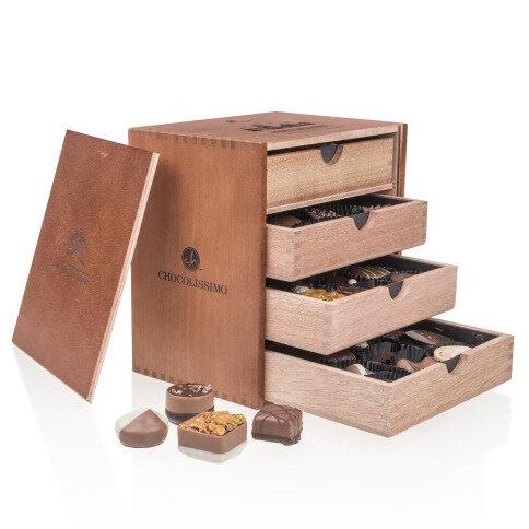 Chocolissimo - Čokoládové pralinky v drevenej škatuľke Merry Massimo, bez alkoholu 500 g