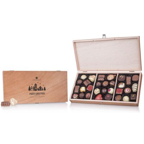 Chocolissimo - Drevená vianočná krabička - 30 praliniek + možnosť gravírovania 375 g
