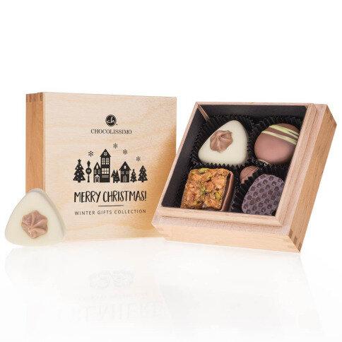Chocolissimo - Vianočná drevená štvorcová bonboniera Premiere 50 g